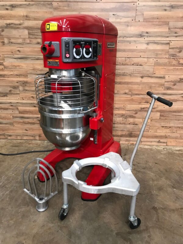 Hobart Pizza dough mixer with Papa Murphy's Red