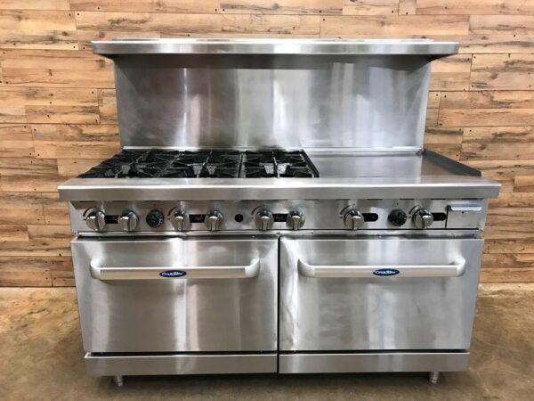 Atosa Range, 6 burner, Griddle Double Oven