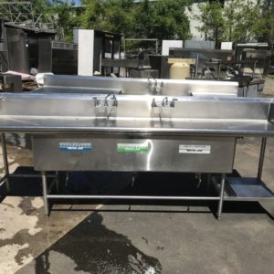 Wasserstrom 10' Stainless Steel Three Compartment Commercial Sink