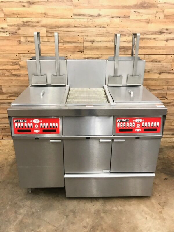 VULCAN NATURAL GAS DUAL FRYER WITH DUMP, FILTRATION, AUTO BASKET LIFTS
