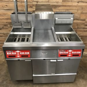 VULCAN NATURAL GAS DUAL FRYER WITH DUMP, FILTRATION, AUTO BASKET LIFT