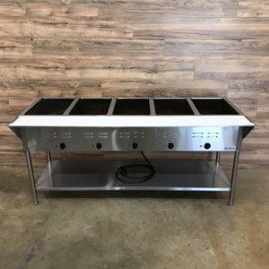 ServIt 5 Pan Open Well Electric Steam Table w/ Undershelf
