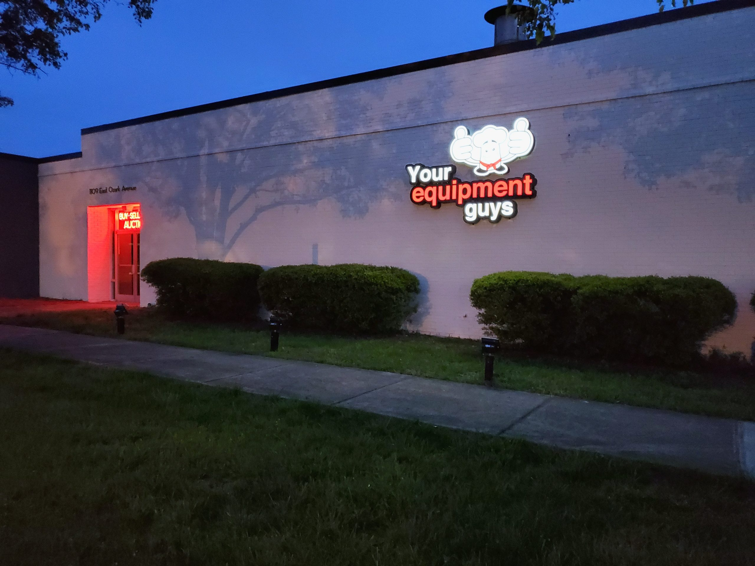 Restaurant Equipment Entrance at Night