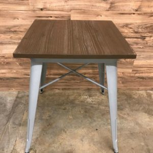 Square Walnut Table w/ Silver Metal Frame