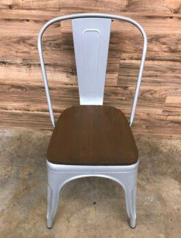 Indoor-Outdoor Stackable Chair, Wooden Seat