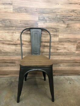 Bistro Style Metal Chair In Dark Grey Finish and Wooden Seat