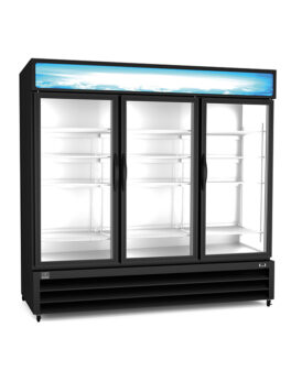 "Kelvinator Commercial 81"" Three Section Glass Door Merchandiser"
