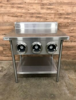 "Stainless Steel Table 36""w/ Triple Cup Dispenser Cabinet"