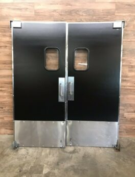 Eliason Black & Stainless Steel Swinging Traffic Door