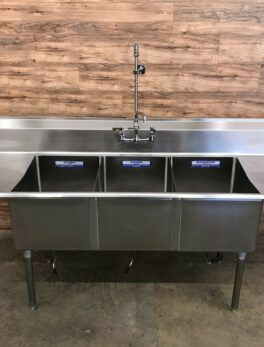 "102"" John Boos Commercial 3-Compartment Sink w/ Faucet"