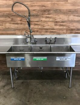 """105"""" Triple/3-Compartment Commercial Sink w/ 2 Faucets and 1 Pre-Rinse Sprayer"""