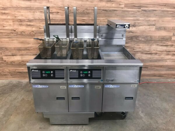 Pitco SSH55 Dual Fryer System, Dump Station, Auto Basket