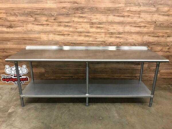 "Advance Tabco FMG-308 Stainless Steel Table, Backsplash 96"" W x 30"""