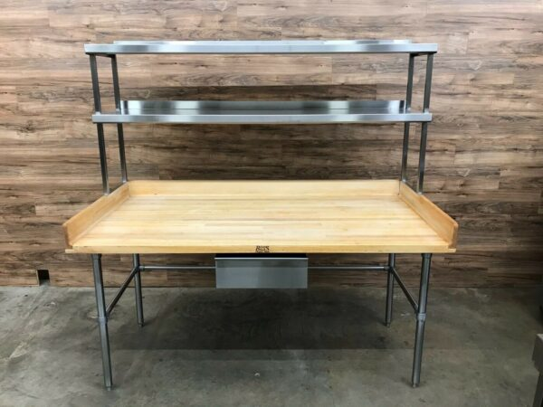 John Boos Wooden Maple Top Bakers Table w/Double Overshelf & Drawer