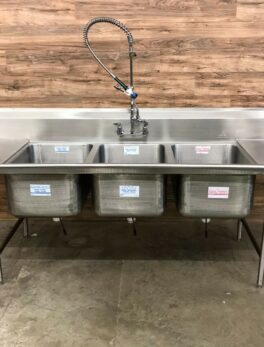 "114.5"" Advance Tabco 3-Compartment Sink w/ Drainboards & Sprayer"