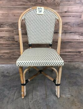 Restaurant Style / Patio Dolly Stacking Wicker Chair with Bamboo Construction