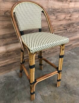Restaurant Style / Patio Stacking Wicker Bar Stool with Bamboo Construction