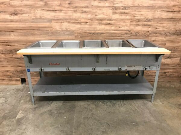 "Duke Aerohot E305 72"" Electric Hot Food Table w/ (5) Wells & Board"