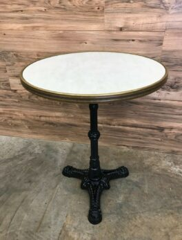 "24"" SM France Round Dining Table with Waterproof Top and Black Ornate Metal Base"