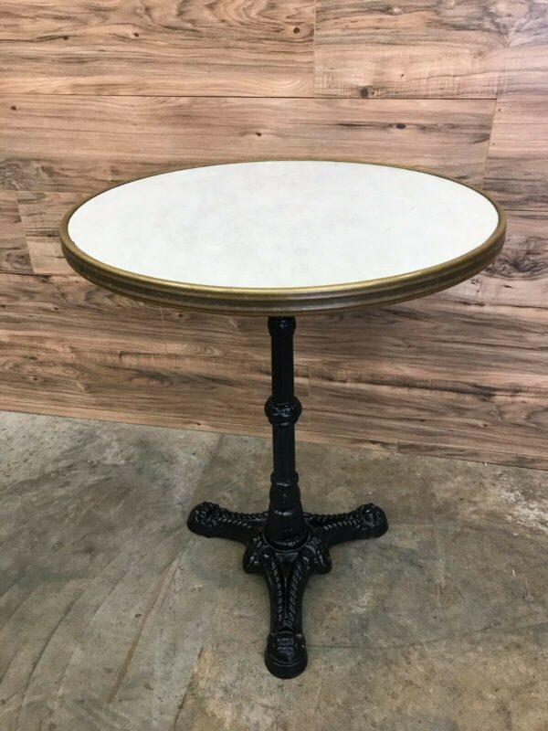 """24"""" SM France Round Dining Table with Waterproof Top and Black Ornate Metal Base"""