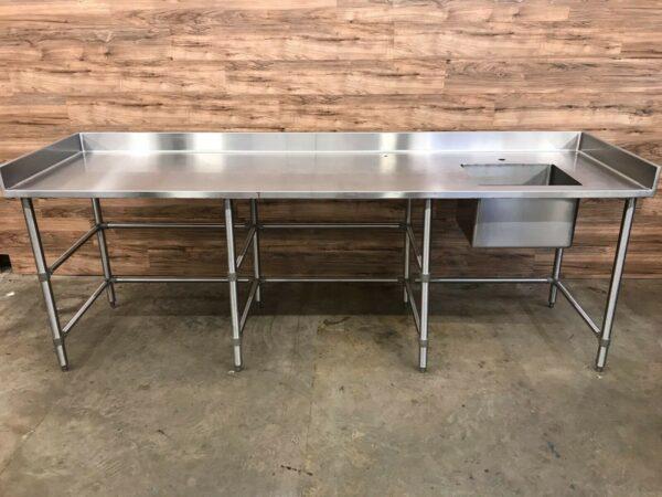 Single Compartment Work Table Sink w/ Sidesplash & Backsplash