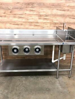 "72"" TriMark Beverage Station w/Triple Cup Dispenser Cabinet, Sink and Undershelf"