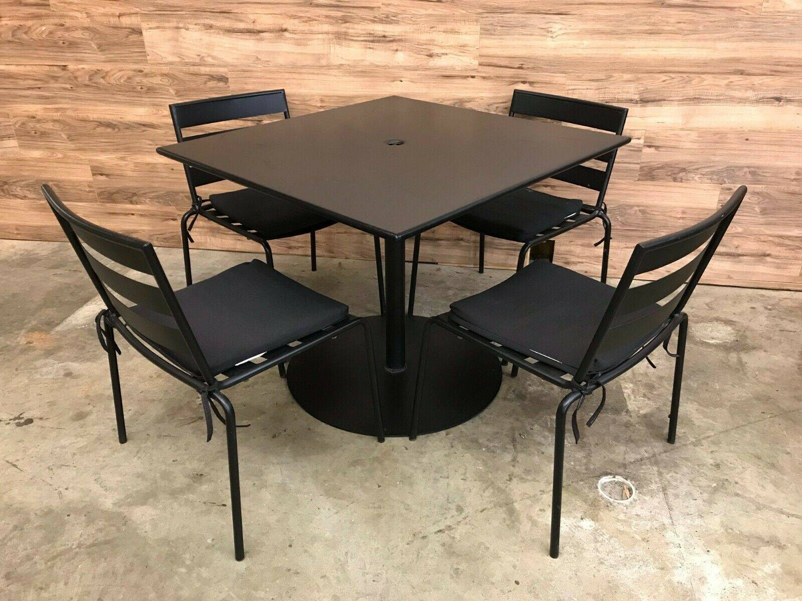 Heavy Duty Black Metal Outdoor Furniture Set Square Table w/ 10 Chairs