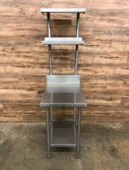 Stainless Steel Table w/ 2 Overshelves, Backsplash, and 1 Undershelf, Heavy Duty
