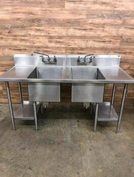 Shepherd Food Equipment Stainless 2-Compartment Sink w/ 2 Faucets, 14 Gauge