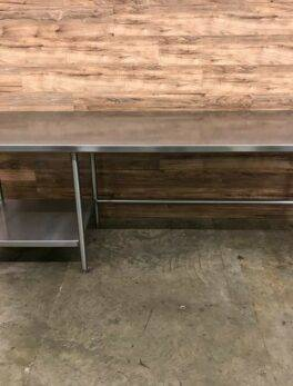 """Stainless Steel 96"""" x 30"""" Work Table w/ Can Opener and Undershelf, 16 Gauge"""