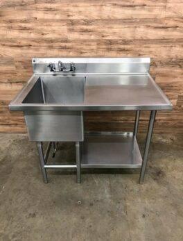 Shepherd Food Equipment Single Compartment Sink w/ Right Drainboard, 14 Gauge