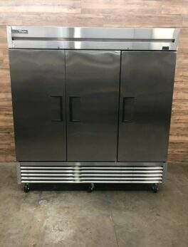 "2020 True 78"" Three Section Solid Door Reach in Freezer, 115 V"